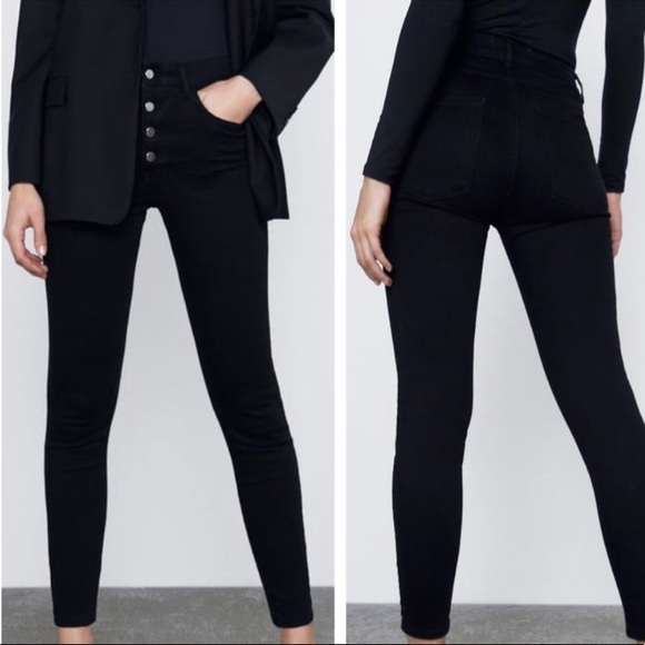 Zara high rise button front jeans